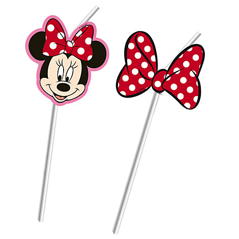 Ensemble de 6 pailles souples Minnie Mouse