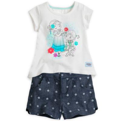 Conjunto infantil de camiseta y pantalones cortos de Frozen, de la colección Disney Animators
