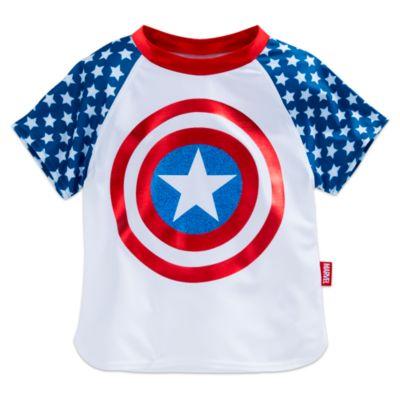 Conjunto de protección solar infantil de tres piezas con biquini y camiseta del Capitán América