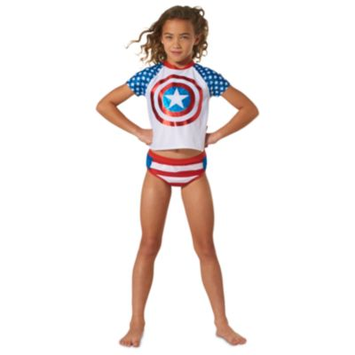 Ensemble 3pièces Captain America avec bikini et vêtement de protection solaire pour enfants