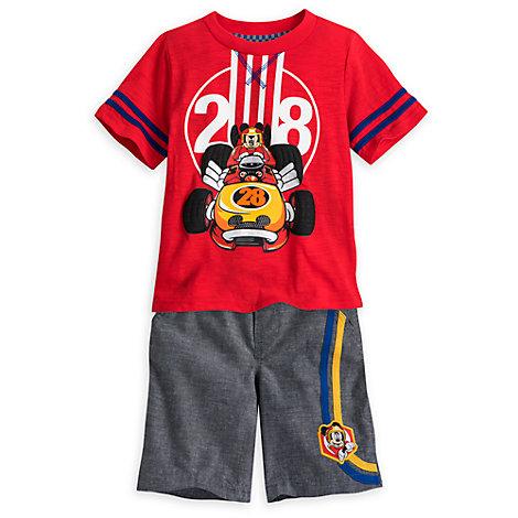 Mickey Mouse Racerholdet: Sæt med t-shirt og shorts til børn
