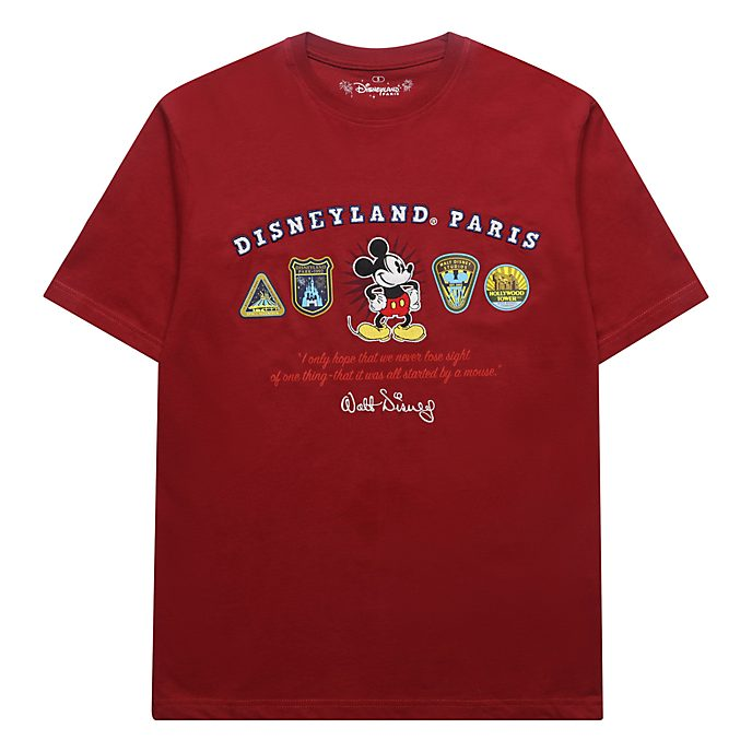 Disneyland Paris T-shirt logos Mickey rouge pour adultes