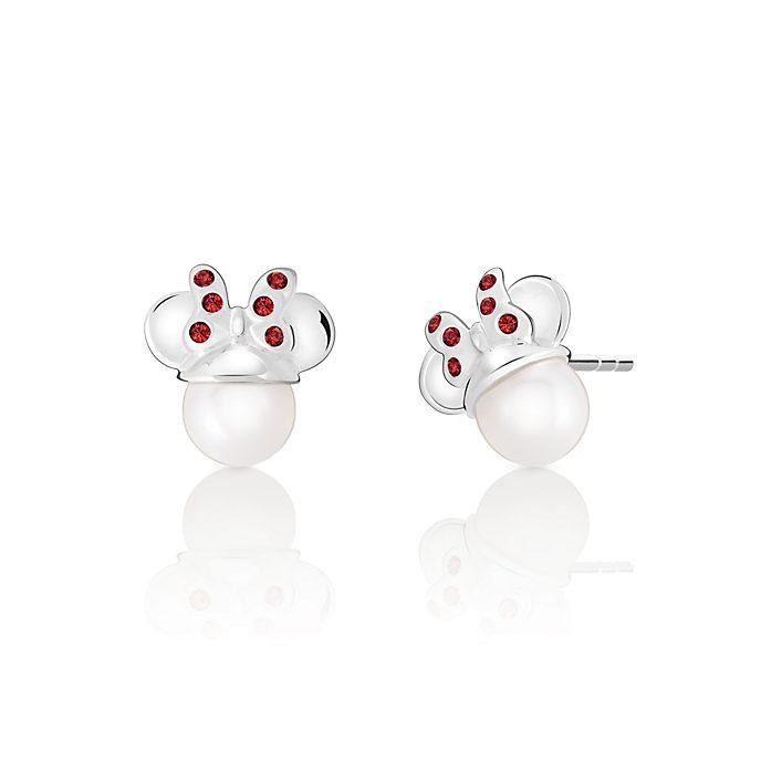 Pendientes de botón Minnie Mouse con perla de cristal, Chamilia