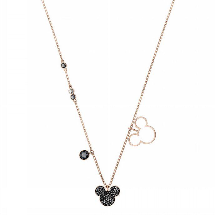 Swarovski - Micky Maus - roségoldene Halskette mit Silhouette mit schwarzen Glaskristallen