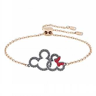 Swarovski Bracelet Mickey et Minnie plaqué en or rose