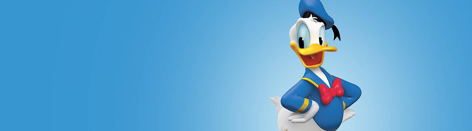 Donald Duck Die beliebteste Ente der Welt kommt direkt aus Entenhausen zu uns! Finde Donald Duck Figuren, Kostüme, Spiele & Kuscheltiere für Kinder.