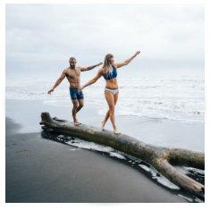 swim trunks and bikini top and bottom