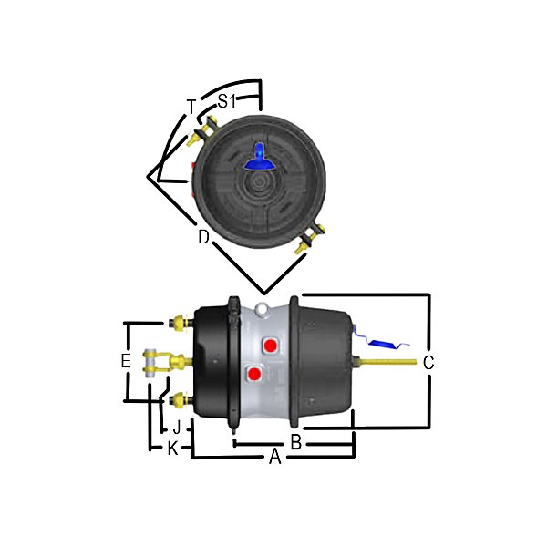 Haldex - Air Brake Chambers / Spring Type w/ Parking Brake - New - H/D Truck 3030 Gold Seal Combo Haldex - ANLGC3030R