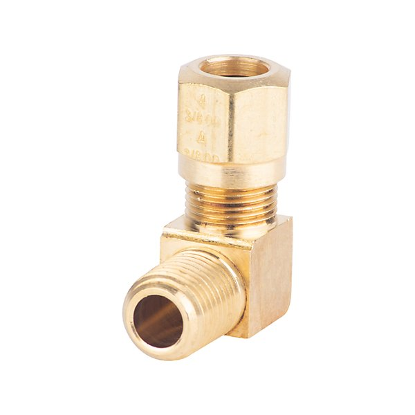 Fairview - Extruded 90° Street Elbow D.O.T. 3/8 Tube x 1/4 MPT - Brass Pipe Fitting - FAI1469-6B