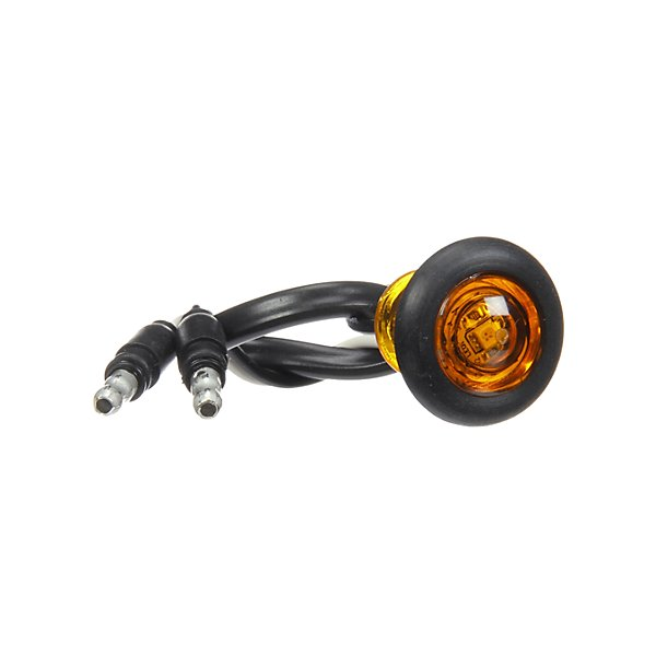 Truck-Lite - 33 Series, LED, Yellow Round, 1 Diode, Marker Clearance Light, P2, Black Rubber Grommet Mount, Hardwired, .180 Bullet Terminal, 12V, Kit - TRL33050Y