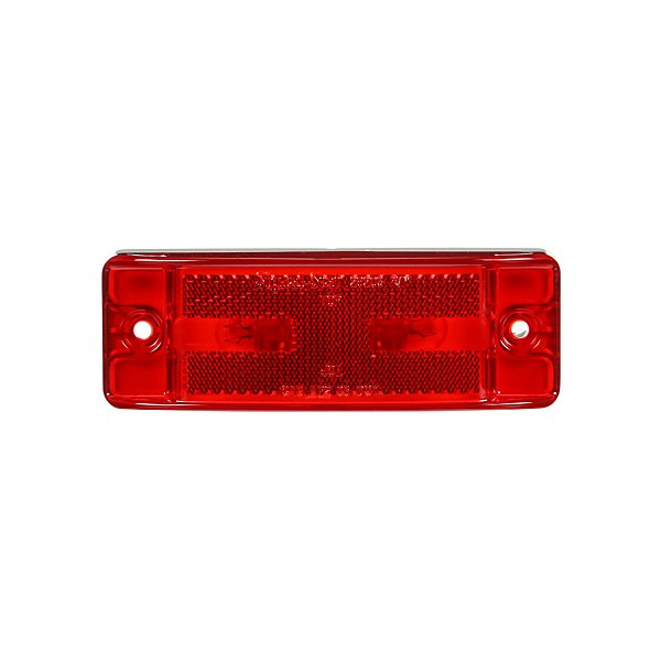 Truck-Lite - 21 Series, Incandescent, Red Rectangular, 2 Bulb, Marker Clearance Light, PC, 2 Screw, Reflectorized, Male Pin, 12V - TRL29203R
