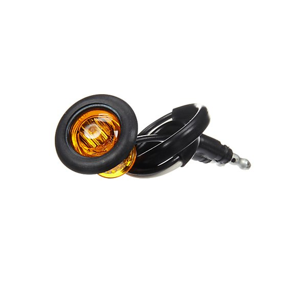 Truck-Lite - 33 Series, LED, Yellow Round, 1 Diode, Marker Clearance Light, PC, Black Rubber Grommet Mount, Hardwired, .180 Bullet Terminal, 12V, Kit - TRL33075Y