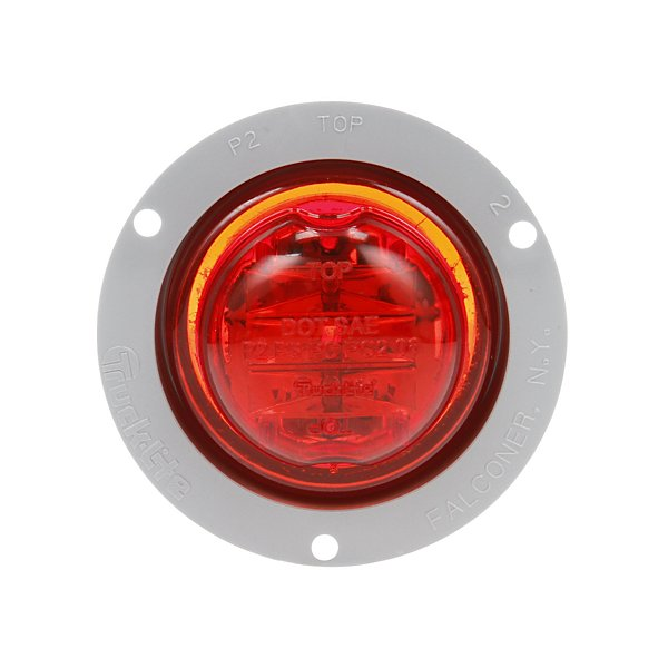 Truck-Lite - 10 Series, High Profile, LED, Red Round, 8 Diode, Marker Clearance Light, PC, Gray Polycarbonate Flange Mount, PL-10, 12V - TRL10279R