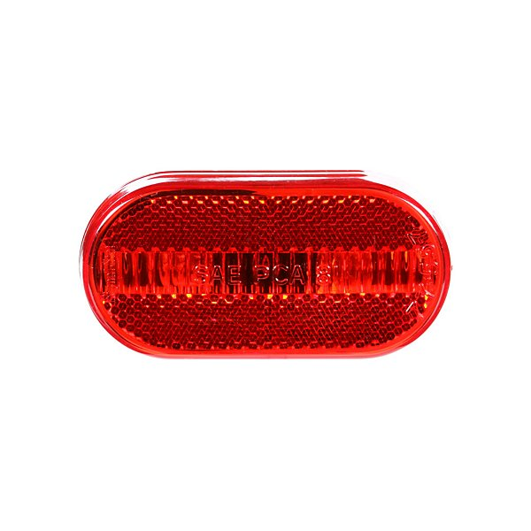 Truck-Lite - Signal-Stat, Incandescent, Red Oval, 2 Bulb, Marker Clearance Light, P2, White ABS Bracket Mount, Reflectorized, Hardwired, Stripped End, 12V - TRL1264