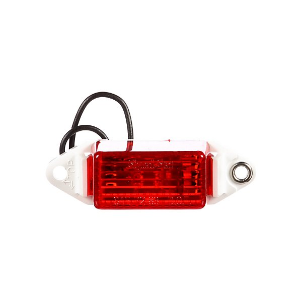 Truck-Lite - Signal-Stat, Pee Wee, Incandescent, Red Rectangular, 1 Bulb, Marker Clearance Light, P2, White ABS 2 Screw, Hardwired, Stripped End, 12V - TRL1507