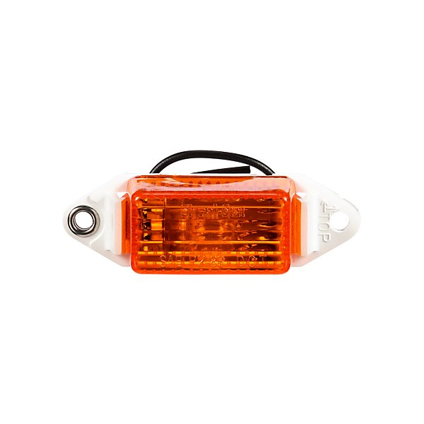 Truck-Lite - Signal-Stat, Pee Wee, Incandescent, Yellow Rectangular, 1 Bulb, Marker Clearance Light, P2, White ABS 2 Screw, Hardwired, Stripped End, 12V - TRL1507A