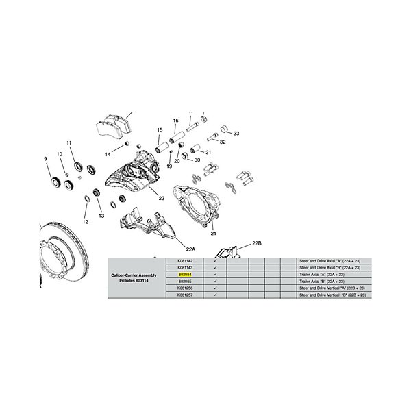 Bendix - Air Disc Brake Caliper for ADB22X-LT RH - BEN802984