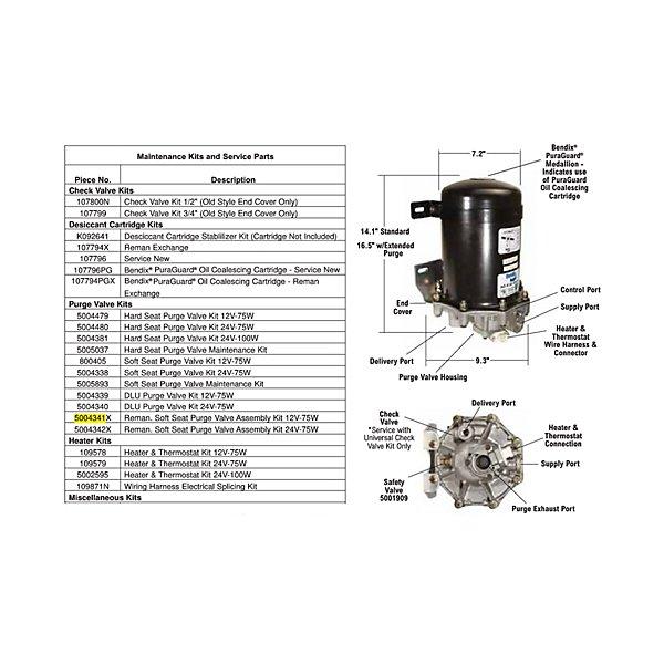 Bendix - Soupape de purge siège souple assemblée pour AD-9, 12 V - BEN5004341X