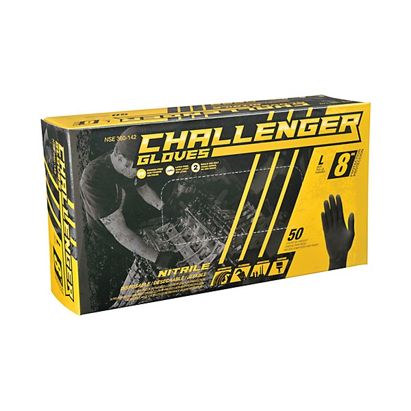 Challenger Gloves - NITRILE GLOVES 8 MIL BLACK L - GJO360-142