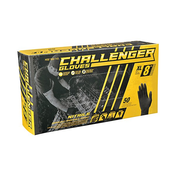 Challenger Gloves - Nitrile Gloves 8 Mil Black Xl - GJO360-143
