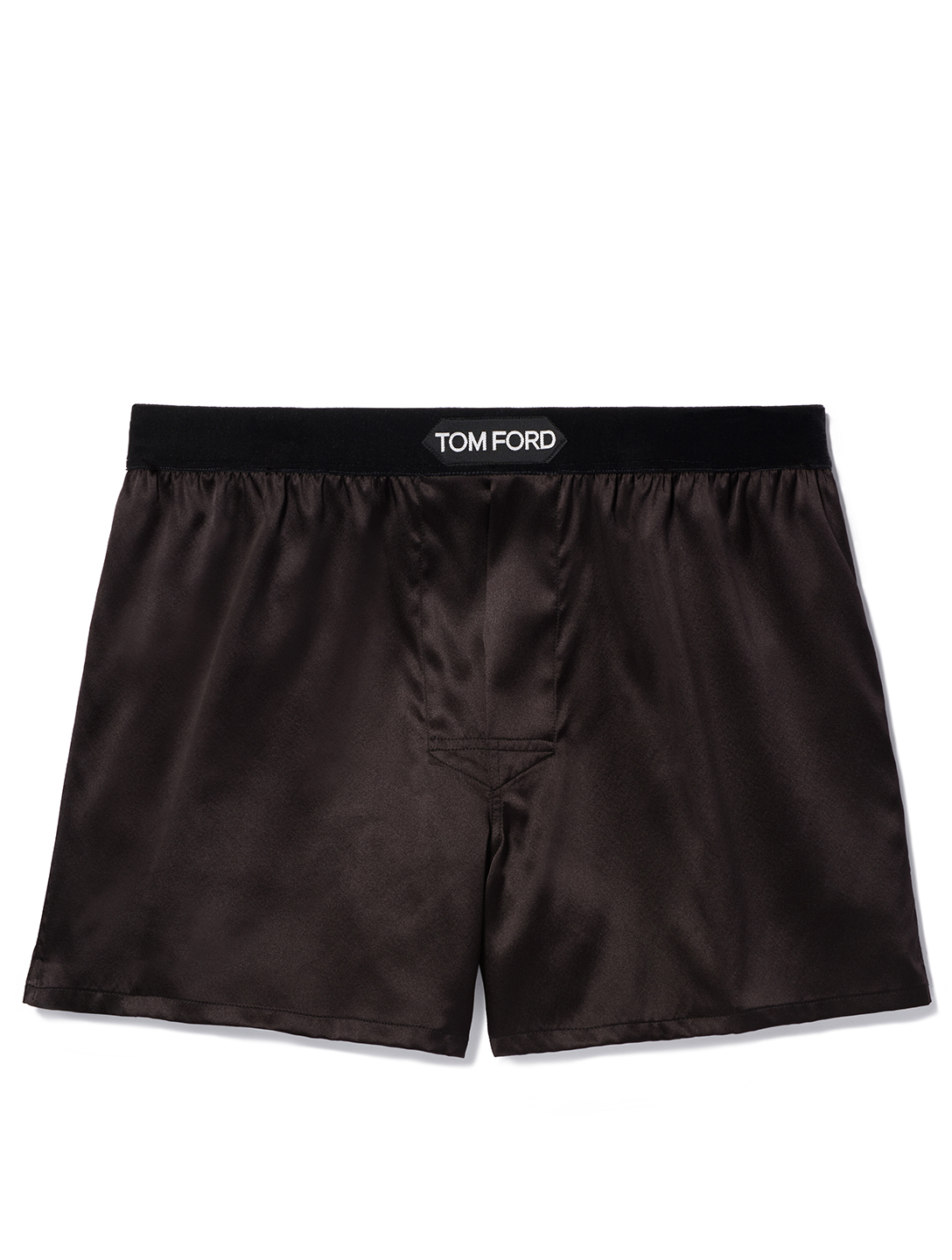 TOM FORD Solid Silk Short Boxers With Logo Men's Brown