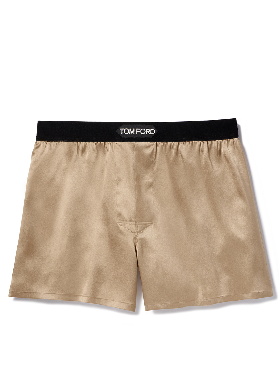 TOM FORD Solid Silk Short Boxers With Logo Men's Beige