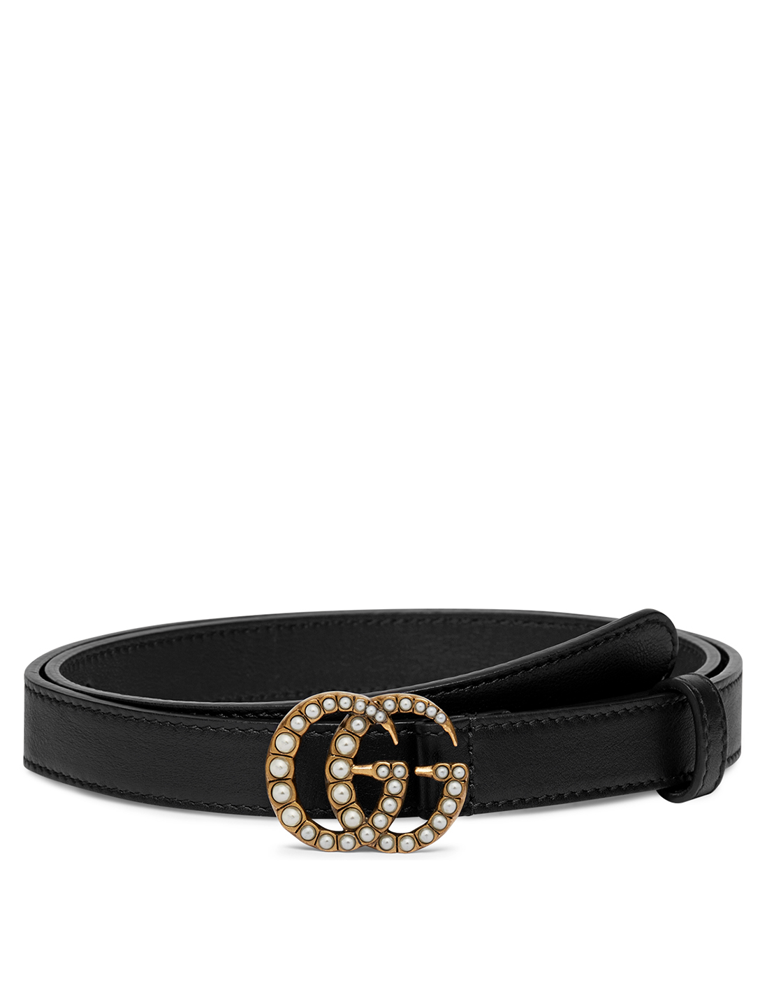 GUCCI Thin Leather Belt With Pearl Double G Buckle Women's Black