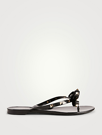 VALENTINO GARAVANI Rockstud Jelly Thong Sandals Women's Black