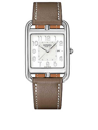 HERMÈS Large Cape Cod Stainless Steel Leather Strap Watch Women's Silver