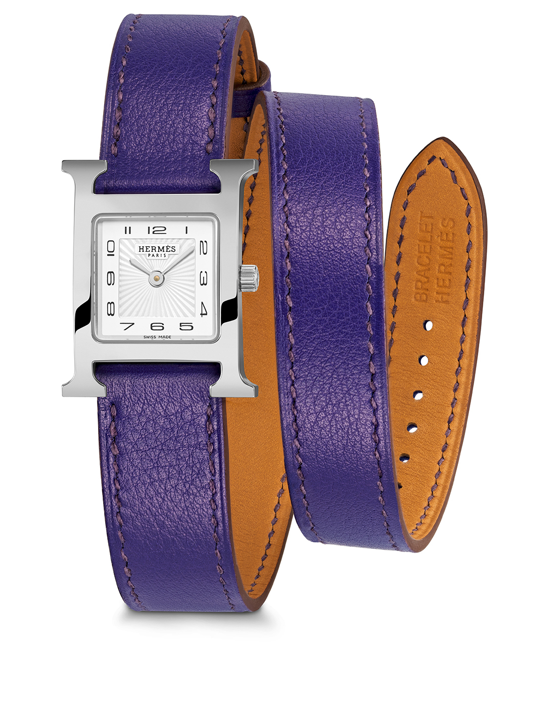 HERMÈS Small Heure H Stainless Steel Leather Wrap Strap Watch Women's Purple