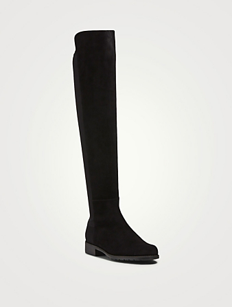 STUART WEITZMAN 5050 Suede Knee-High Boots Women's Black