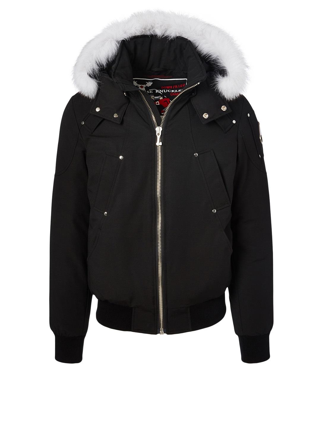 MOOSE KNUCKLES Ballistic Bomber Jacket With Fur Hood Men's Black