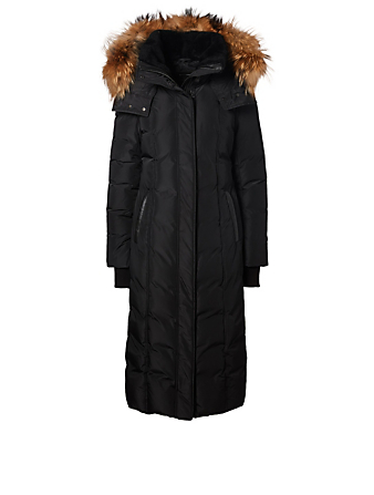 MACKAGE Jada Down Puffer Coat With Fur And Shearling Trim Womens Black