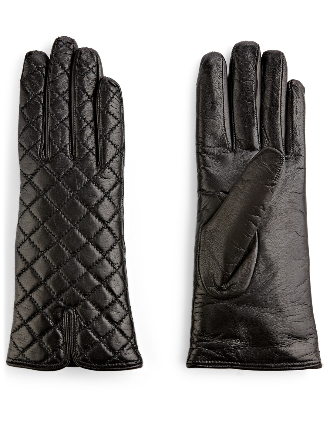 FLORIANA GLOVES Quilted Leather Gloves Collections Black