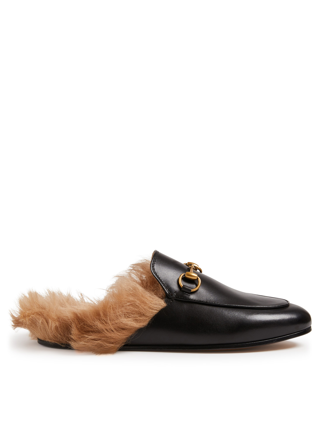 GUCCI Princetown Leather Slippers With Lambswool Womens Black