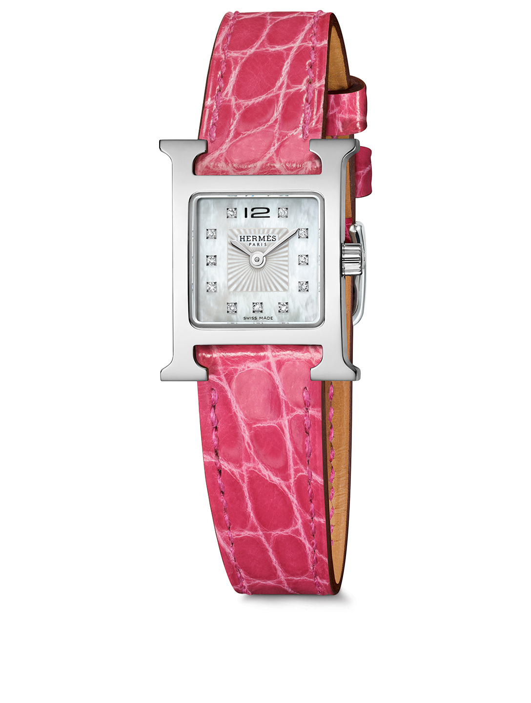 HERMÈS Very Small Heure H Stainless Steel Alligator Strap Watch With Diamonds Women's Pink