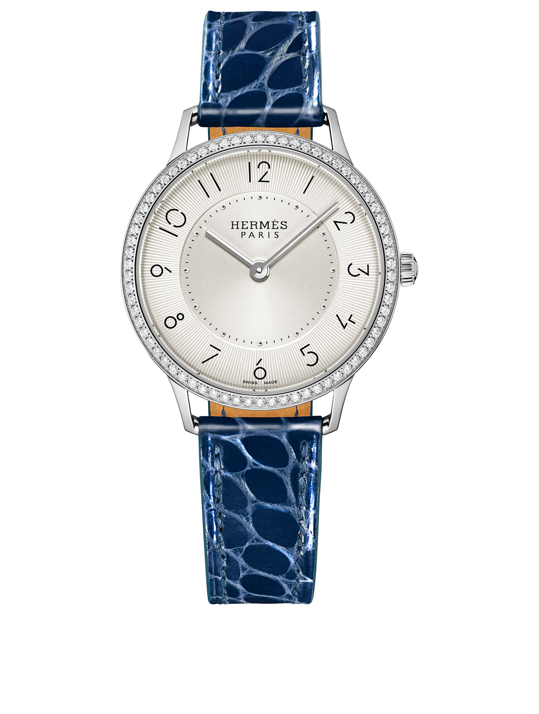 HERMÈS Slim D'Hermes Stainless Steel Alligator Strap Watch With Diamonds Women's Blue
