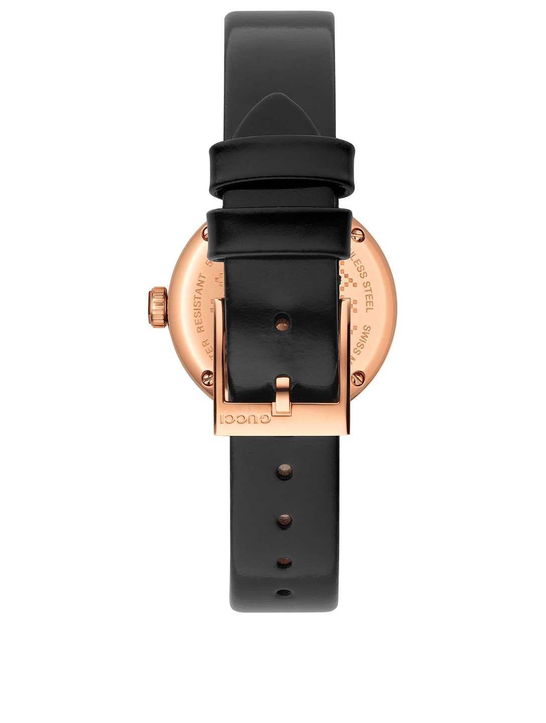 GUCCI Small Diamantissima Goldtone Leather Strap Watch Womens Black