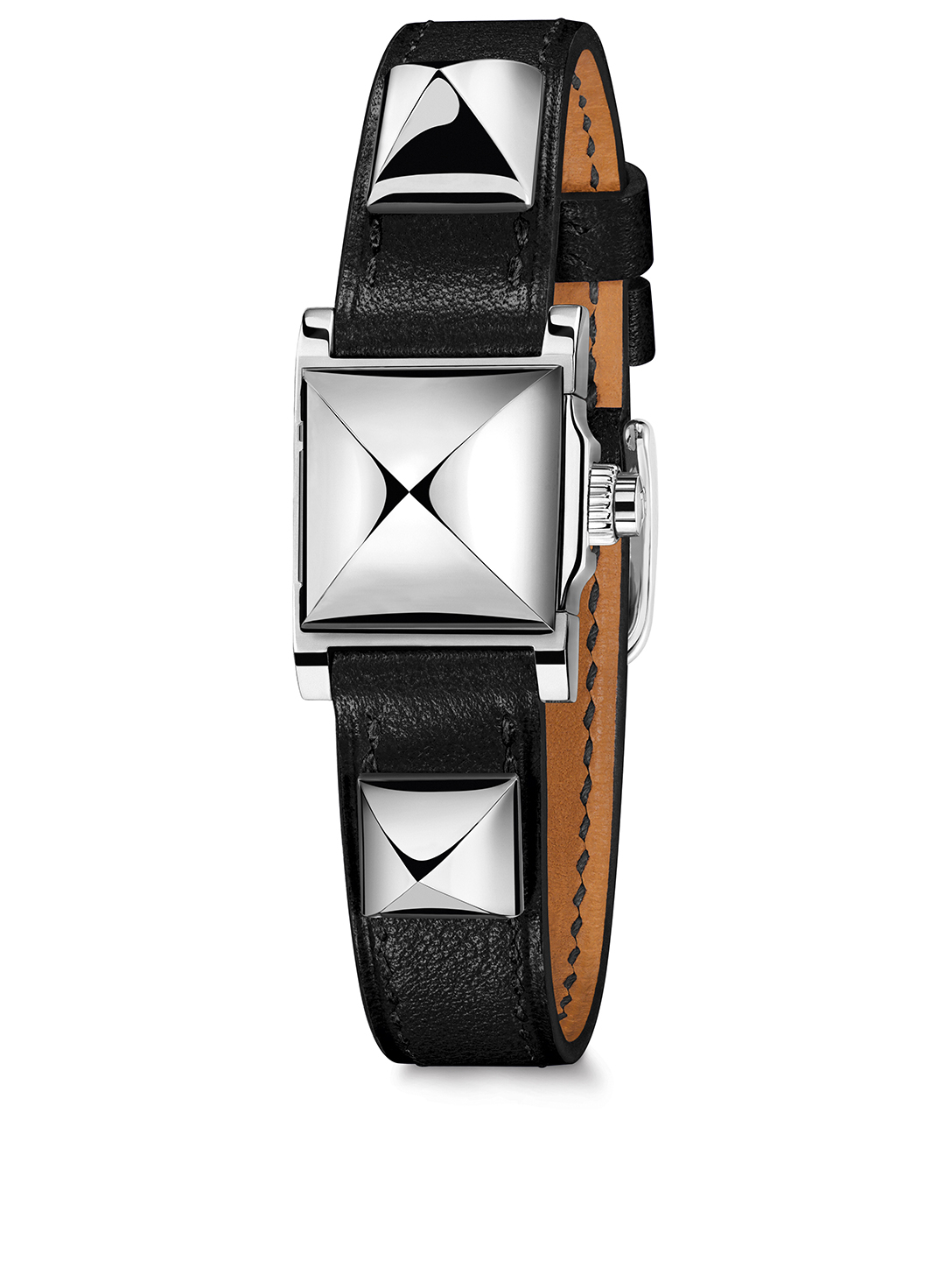 HERMÈS Very Small Medor Stainless Steel Leather Strap Watch Women's Silver