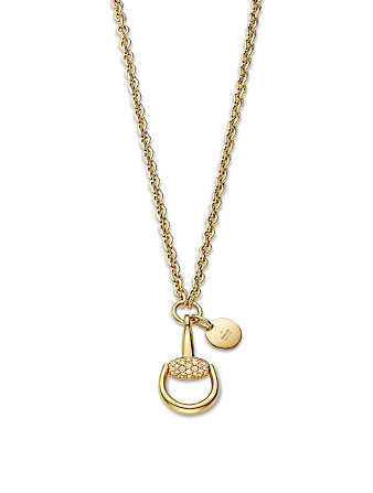 GUCCI 18K Gold Horsebit Necklace With Diamonds Women's Gold