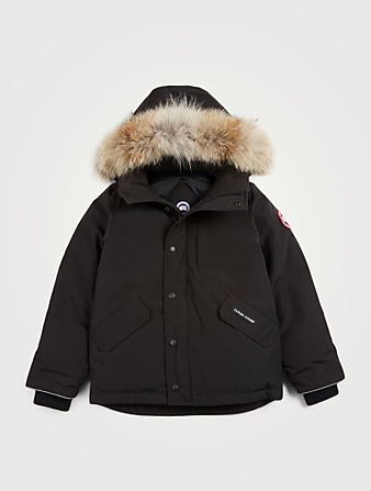 CANADA GOOSE Youth Logan Down Parka With Fur Hood Kids Black