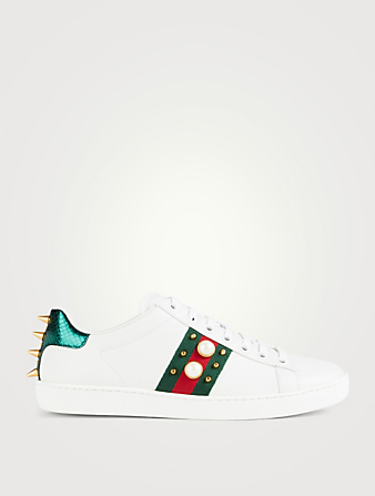 GUCCI Ace Studded Leather Sneakers Women's White