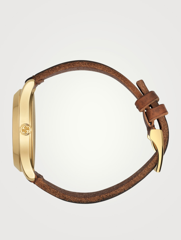7445b031e79 ... GUCCI G-Timeless Le Marché des Merveilles Bee Leather Strap Watch Men s  Brown ...