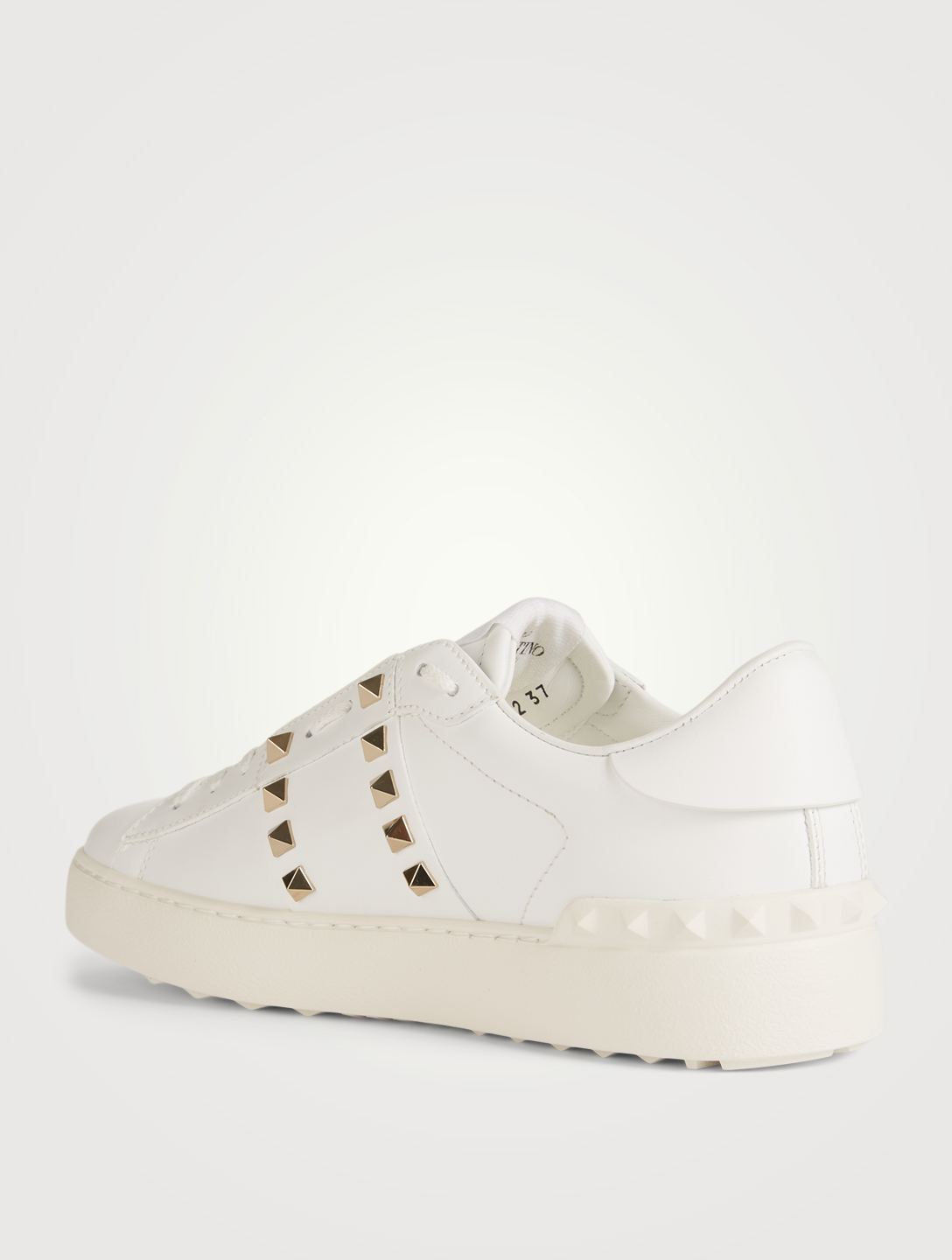 VALENTINO GARAVANI Rockstud Untitled Leather Open Sneakers Women's White