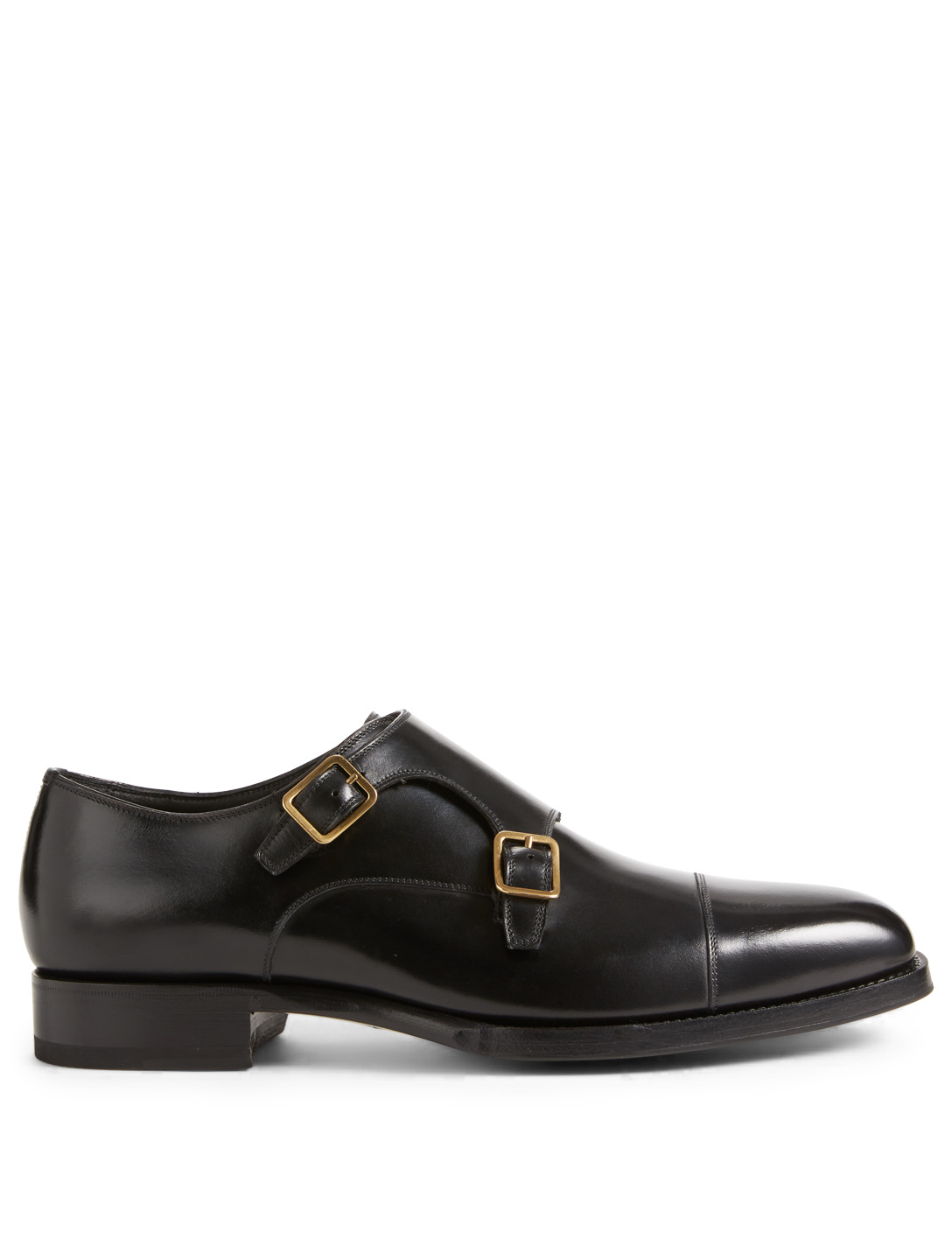 TOM FORD Elkan Leather Double Monk-Strap Shoes Men's Black