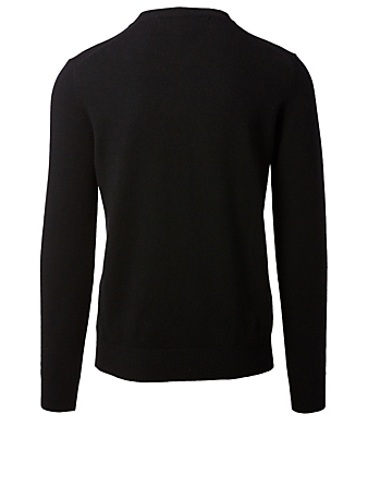 COMME DES GARÇONS PLAY Wool Gold Heart V-Neck Sweater Men's Black