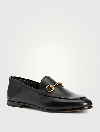 GUCCI Brixton Leather Loafers Women's Black