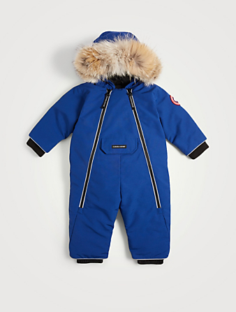 CANADA GOOSE Baby Lamb Down Snowsuit With Fur Hood Kids Blue