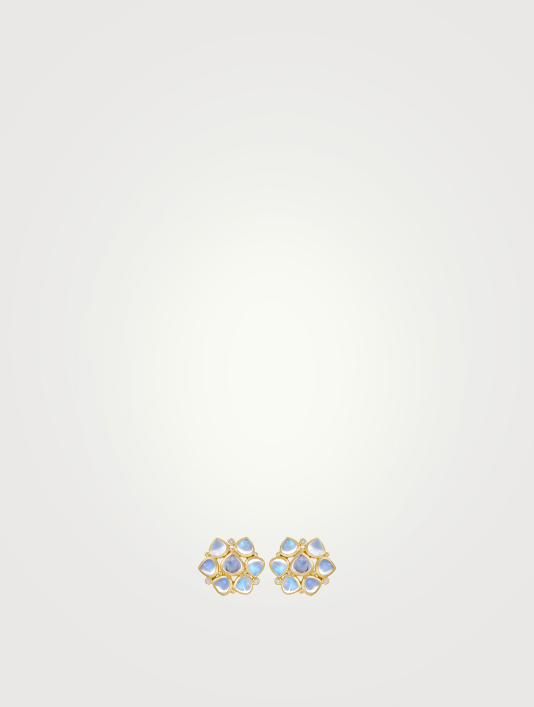 TEMPLE ST. CLAIR Small 18K Gold Cluster Earrings With Royal Blue Moonstone And Diamonds Women's Gold