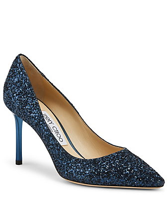 JIMMY CHOO Romy 85 Course Glitter Fabric Pumps Women's Blue